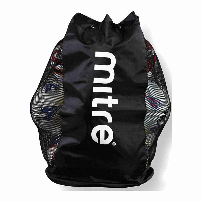 Mitre 12 Football Mesh Ball Sack Black