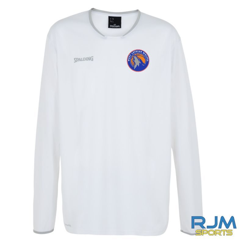 WLW Spalding Move Long Sleeve Shooting Shirt White Silver Grey