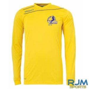 Cumbernauld Colts Home Uhlsport Stream 3.0 Long Sleeve Shirt Corn Yellow Azure Blue