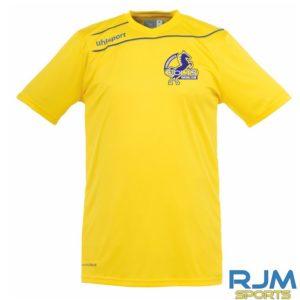 Cumbernauld Colts Home Uhlsport Stream 3.0Short Sleeve Shirt Corn Yellow Azure Blue