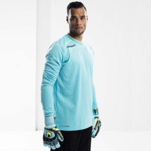 Model wears uhlsport Stream 3.0 Goalkeeper Shirt Long Sleeved Ice Blue Fluo Yellow