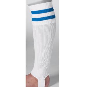 uhlsport Hooped Shinguard Socks White Blue