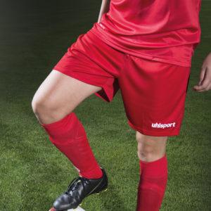 Model wears uhlsport Women Centre Basic II Shorts Red