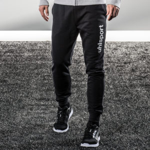 Model Wears uhlsport Essential Modern Sweat Pants Black