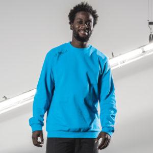 Model Wears uhlsport Essential Sweatshirt Cyan