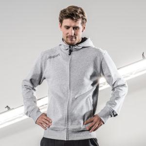 Model Wears uhlsport Essential Hood Jacket Grey Melange