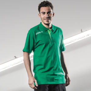 Model Wears uhlsport Essential Polo Shirt Lagoon