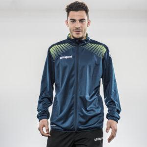 Model Wears uhlsport Goal Classic Jacket Petrol Flash Green