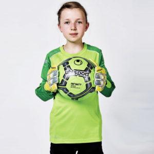 Model wears uhlsport Tower Junior Goalkeeper Set Power Green White