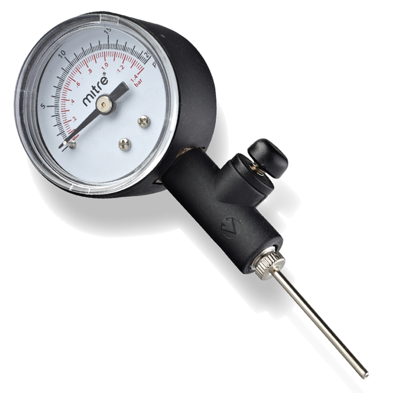 FOOTBALL STIRRUP PUMP with BUILT-IN PRESSURE GAUGE and ADAPTER CASE