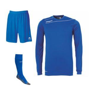 Uhlsport Stream 3.0 Long Sleeve Kit Bundle Azure Blue White Set of 15