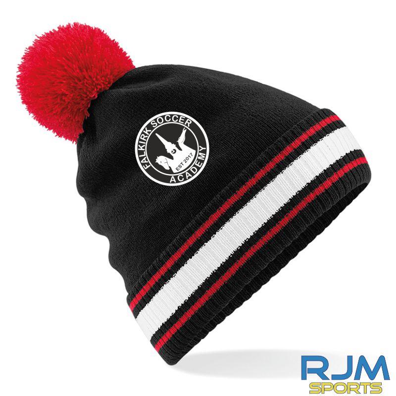 Falkirk Soccer Academy Bobble Hat Black Red White