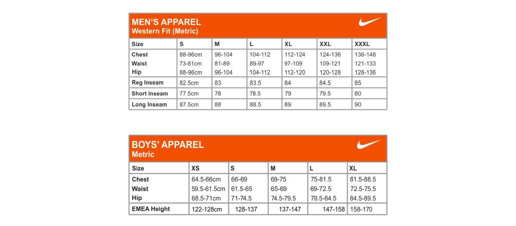Nike Size Chart Men S