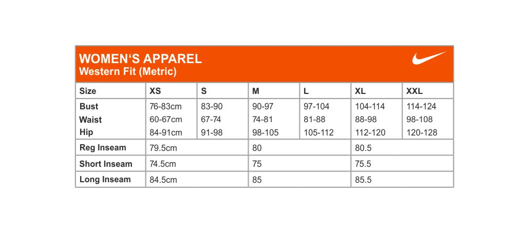 Nike Size Chart Womens 2 - RJM Sports