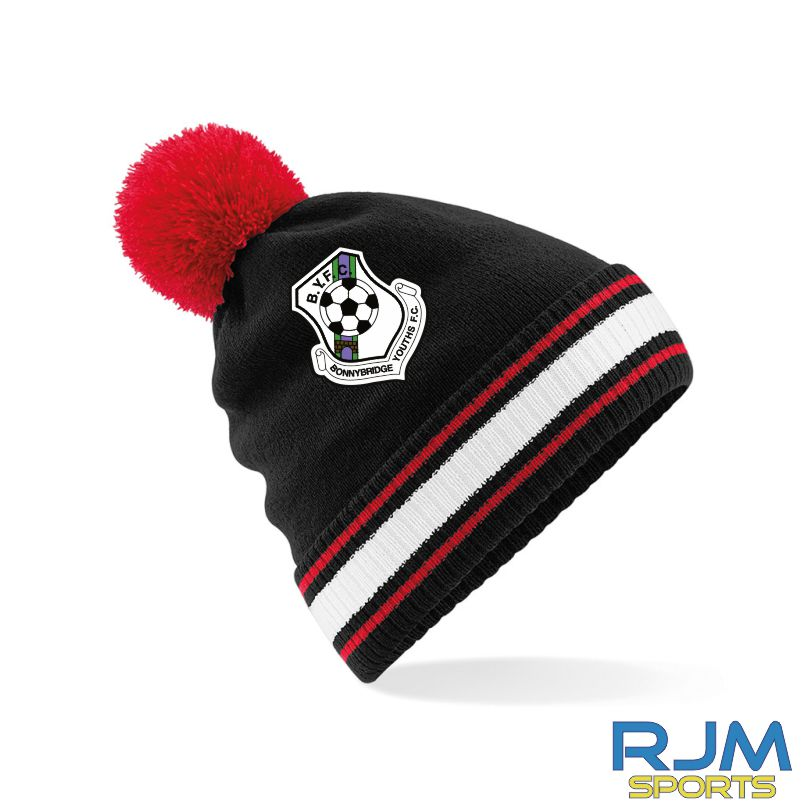Bonnybridge Youths FC Bobble Hat Black Red White