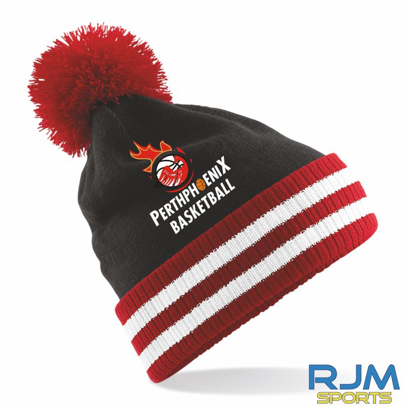 Perth Phoenix Bobble Hat Black Red White