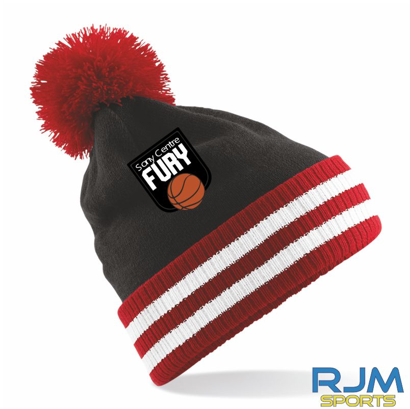 Falkirk Fury Bobble Hat Black Red White