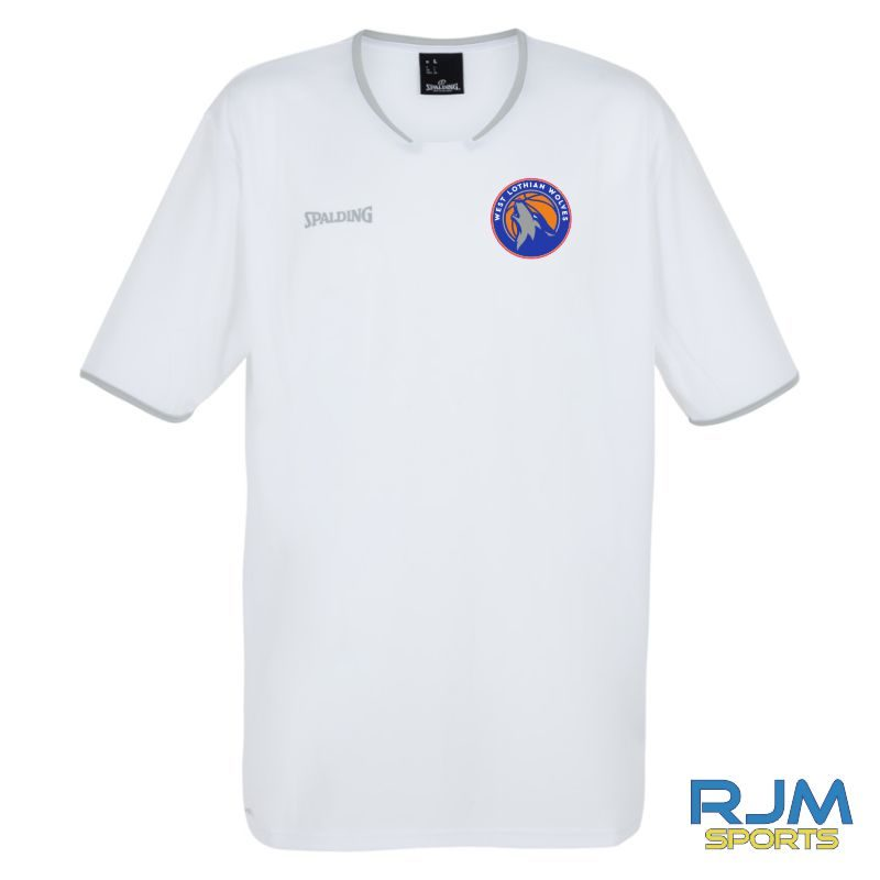 WLW Spalding Move Short Sleeve Shooting Shirt White Silver Grey