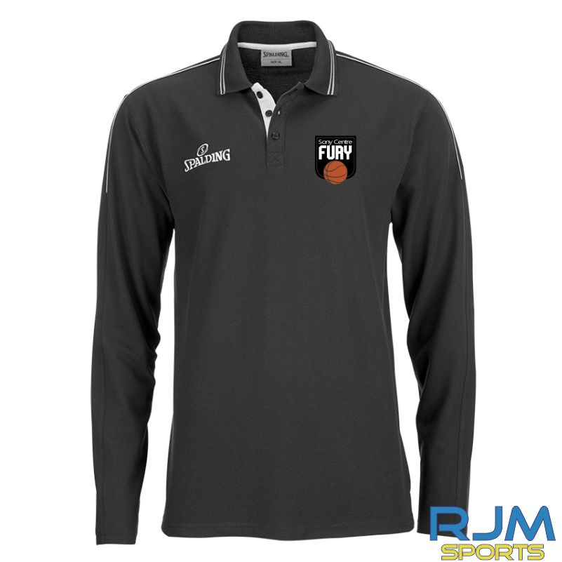 Falkirk Fury Long Sleeve Polo Shirt Black Silvergrey