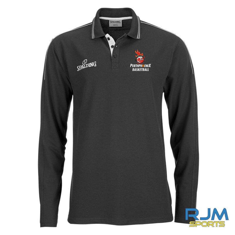 Perth Phoenix Long Sleeve Polo Shirt Black Silvergrey