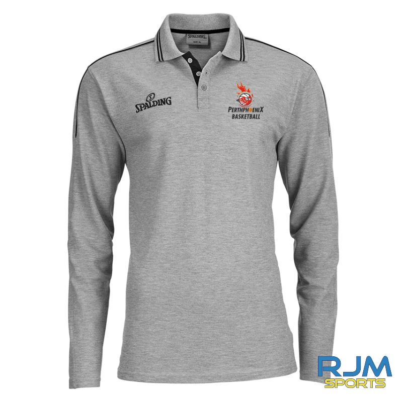 Perth Phoenix Long Sleeve Polo Shirt Grey-Melange Black