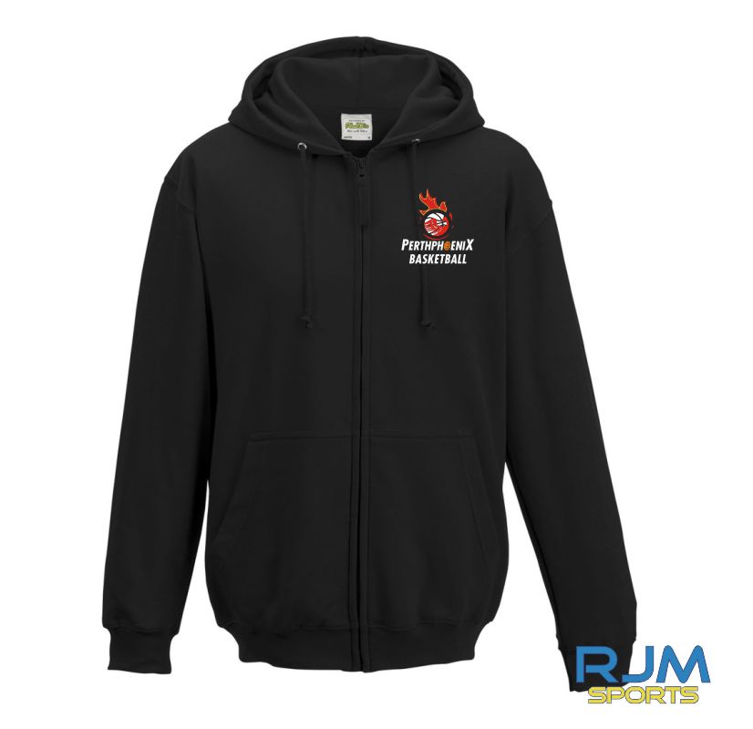 Perth Phoenix Zip Hoody With Back Print Black