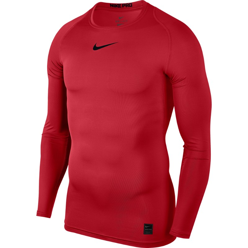 7756be4e Nike Pro Top Compression Crew Long Sleeve University Red/Black ...