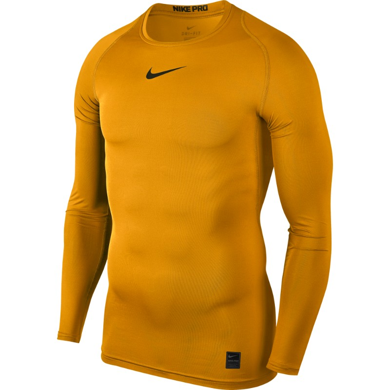 4a23b3c3707 Nike Pro Top Compression Crew Long Sleeve University Gold/Black/(Black)