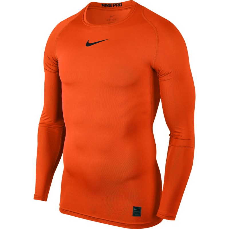 6f53382a Nike Pro Top Compression Crew Long Sleeve Safety Orange/Black/(Black)