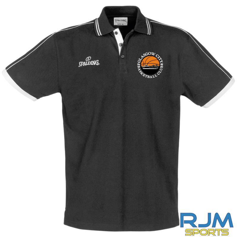 Glasgow City Basketball Spalding Polo Shirt Black
