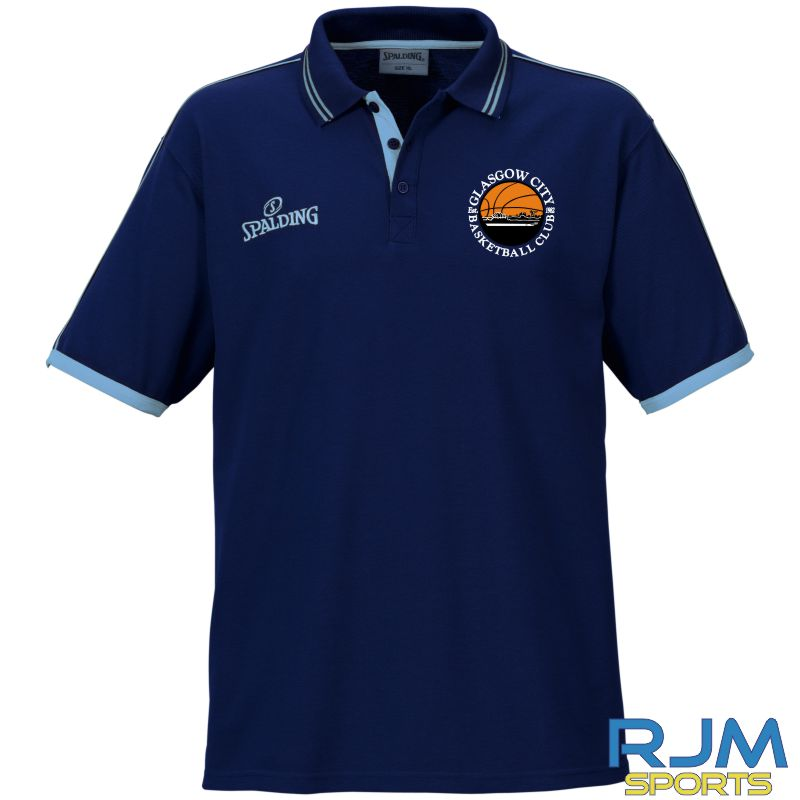 Glasgow City Basketball Spalding Polo Shirt Navy Sky Blue