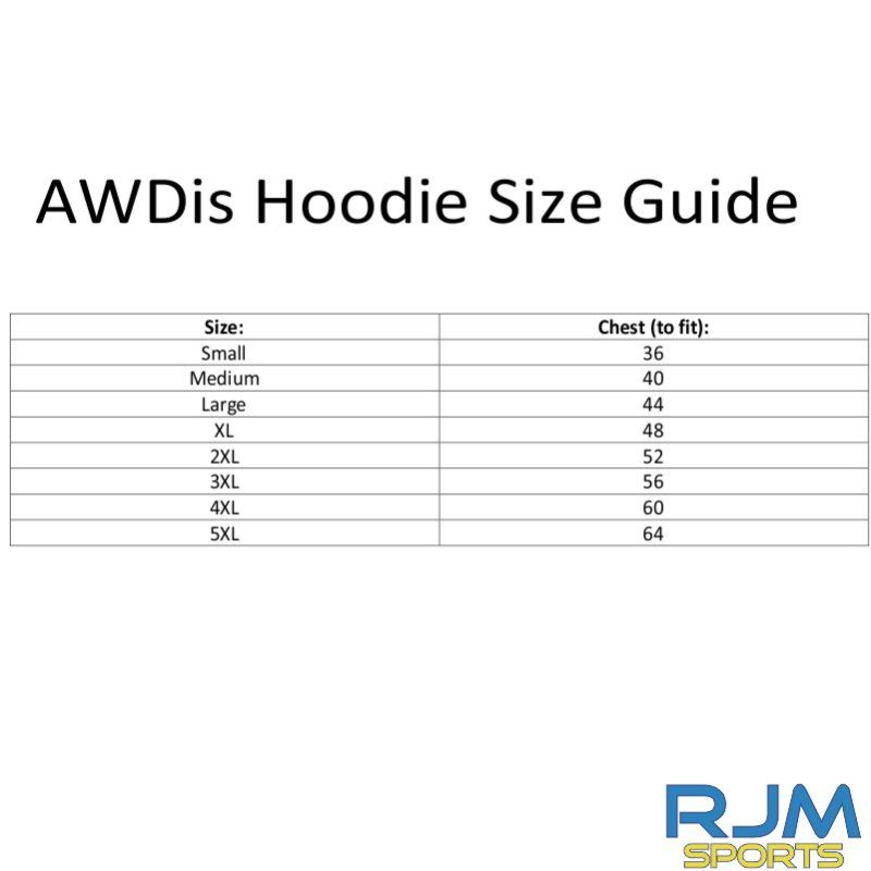 AWDis Hoodie Size Guide