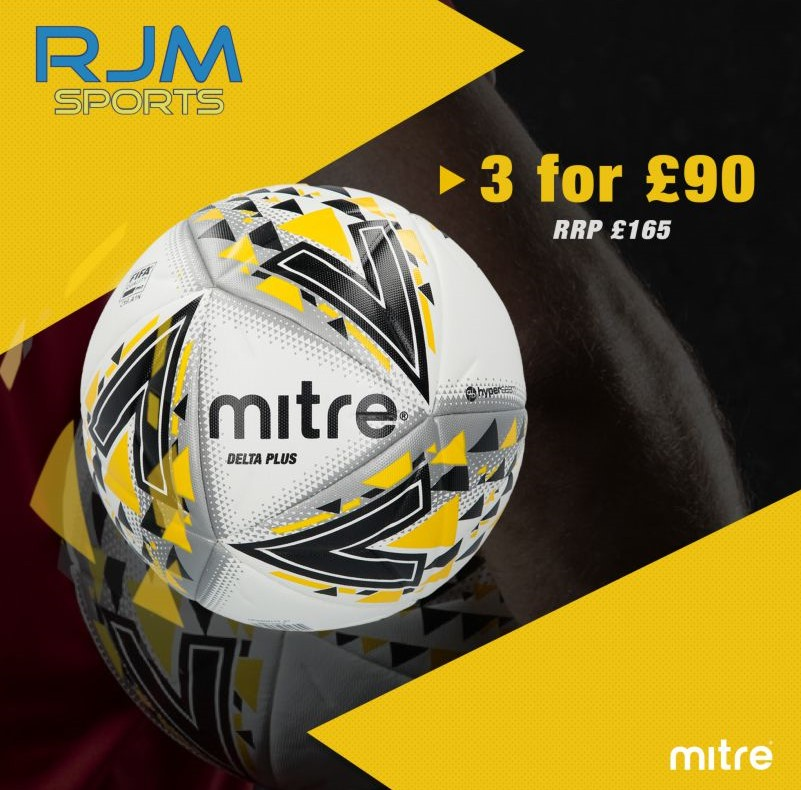 Mitre Delta Plus White Black Yellow 3 Football Deal Size 5