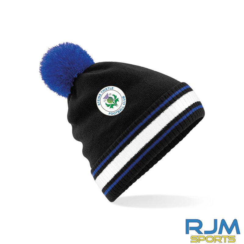 Steins Thistle Bobble Hat Black Bright Royal White