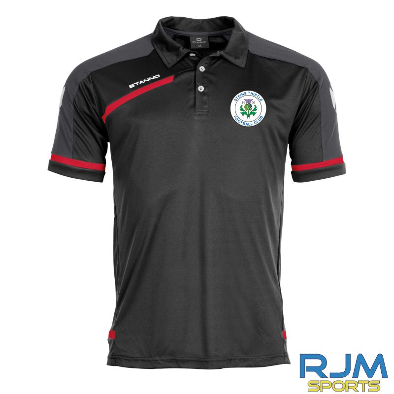 Steins Thistle Stanno Prestige Coaches Matchday Polo Shirt Black Red White