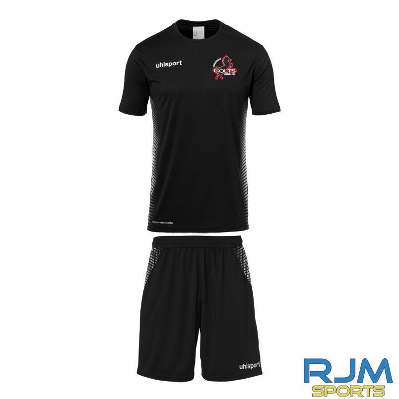 Cumbernauld Colts Away Uhlsport Score Short Sleeve Kit Black White
