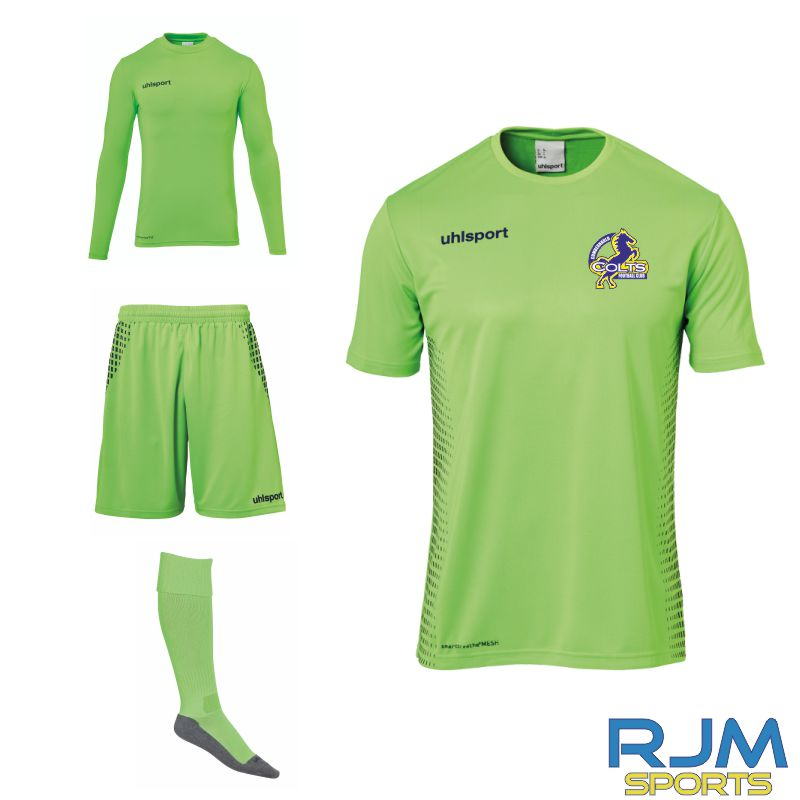 Cumbernauld Colts Uhlsport Score Goalkeeper Set Fluo Green Navy