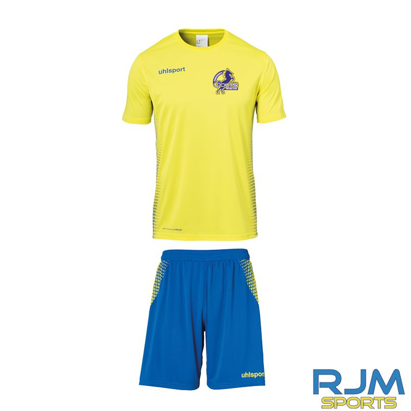 Cumbernauld Colts Home Uhlsport Score Short Sleeve Kit Lime Yellow Azure Blue