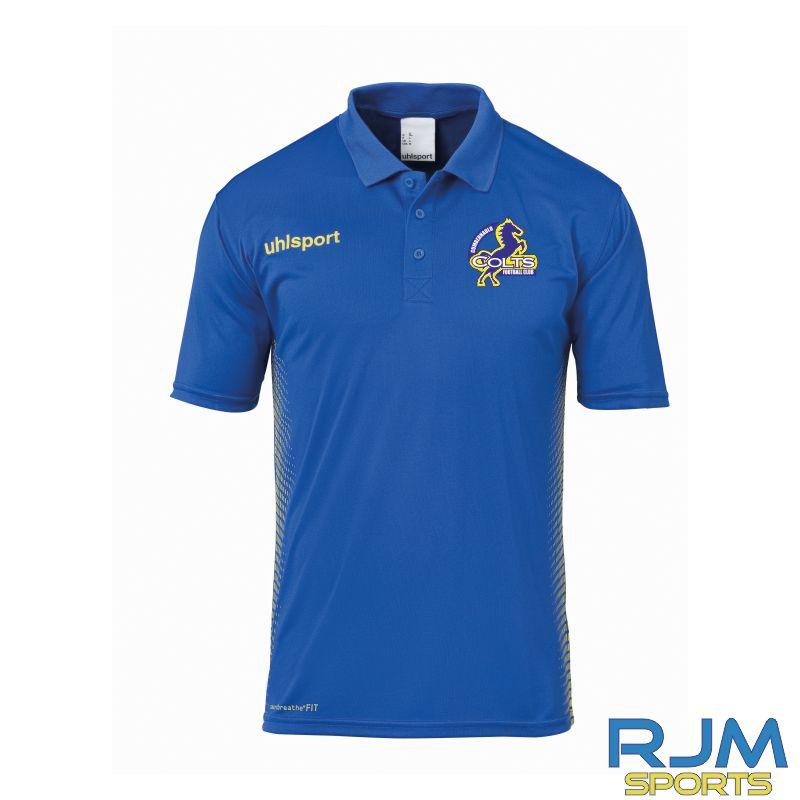 Cumbernauld Colts Uhlsport Score Polo Shirt Azure Blue Lime Yellow
