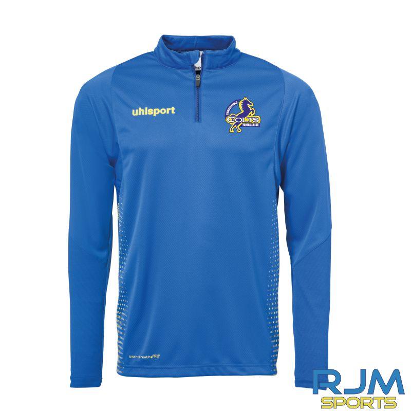 Cumbernauld Colts Uhlsport Score Quarter Zip Top Azure Blue Lime Yellow