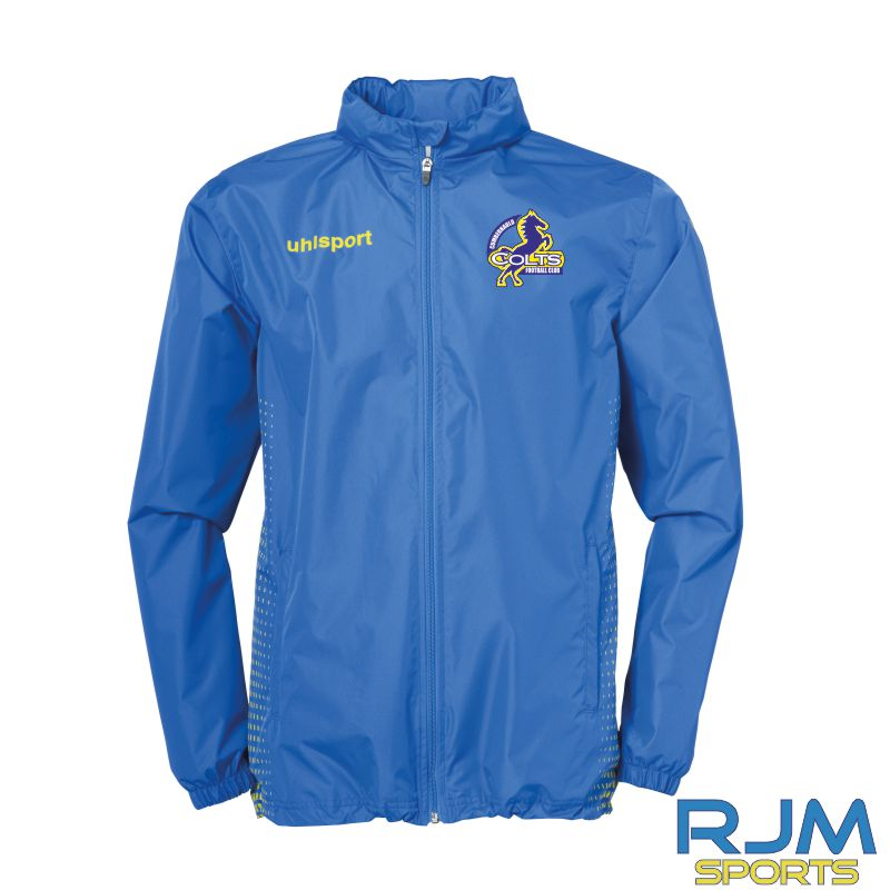 Cumbernauld Colts Uhlsport Score Rain Jacket Azure Blue Lime Yellow