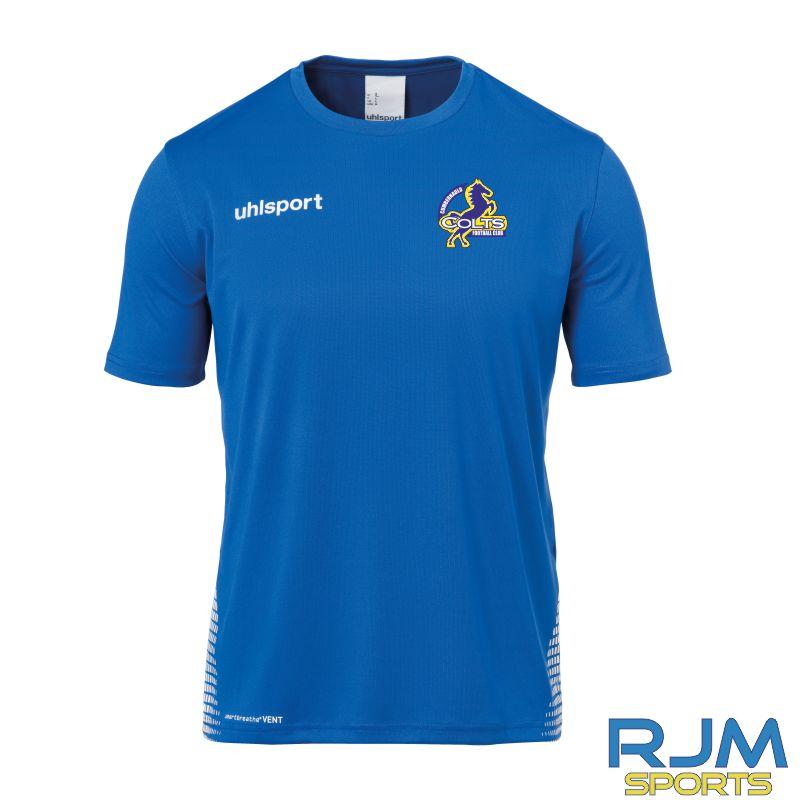 Cumbernauld Colts Uhlsport Score Training T-Shirt Azure Blue White