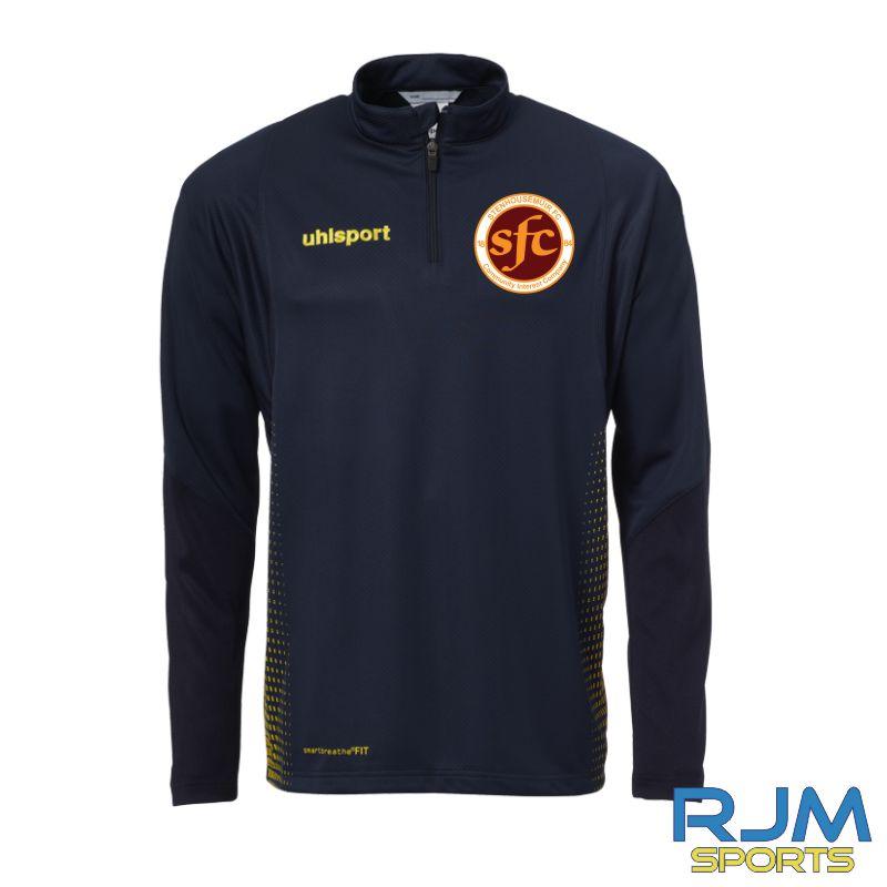 Stenhousemuir FC Uhlsport Score 1/4 Zip Navy/Fluo Yellow