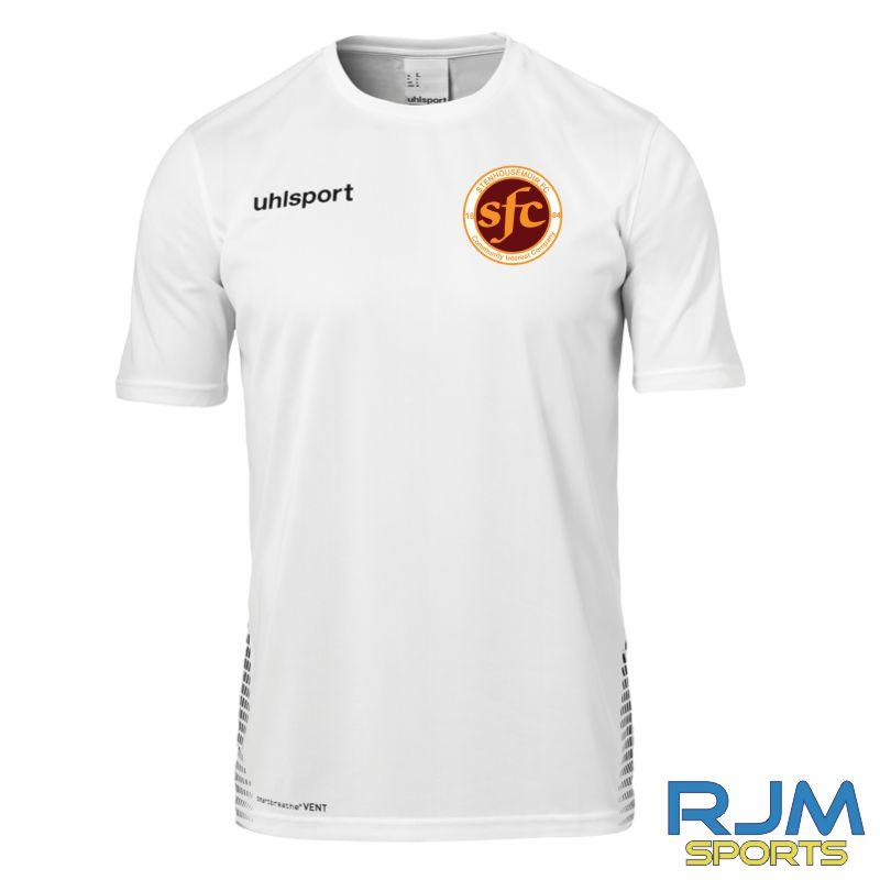 Stenhousemuir FC Uhlsport Score Training T-Shirt White/Black