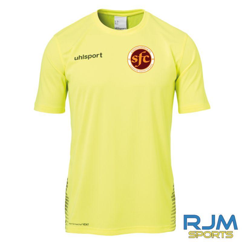 Stenhousemuir FC Uhlsport Score Training T-Shirt Fluo Yellow/Black