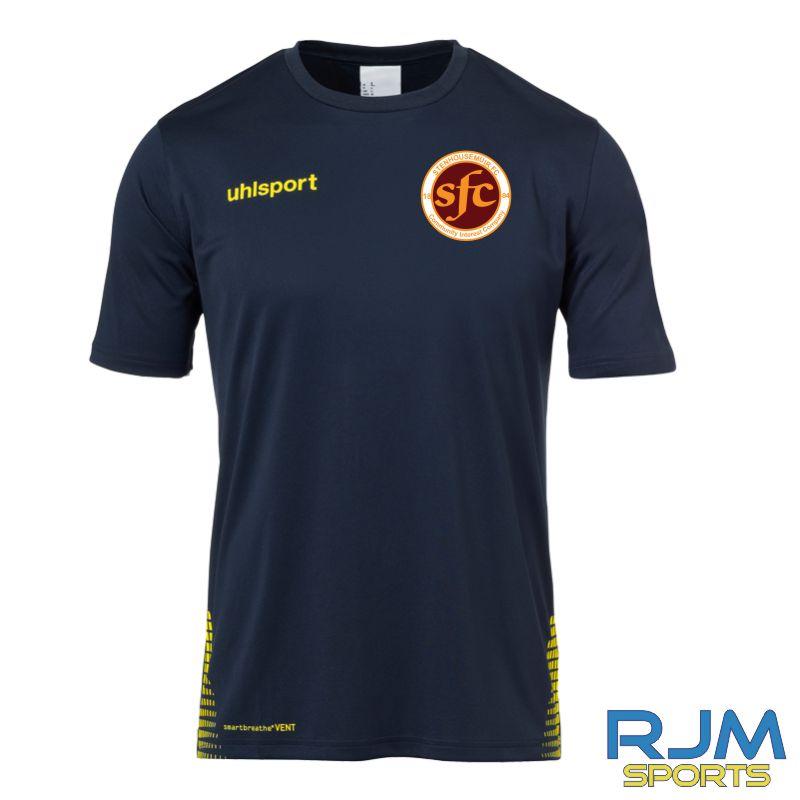 Stenhousemuir FC Uhlsport Score Training T-Shirt Navy/Fluo Yellow