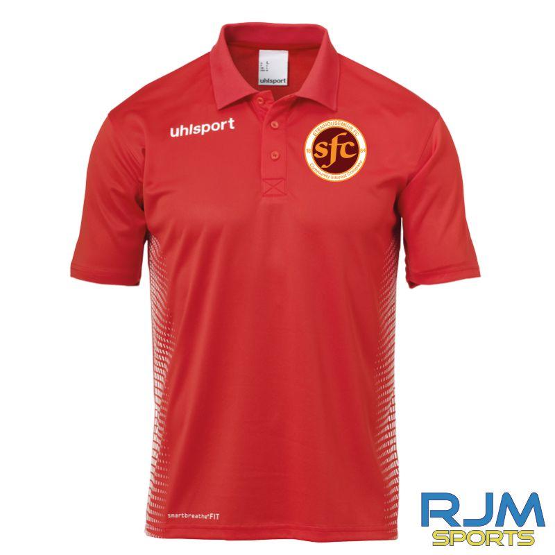Stenhousemuir FC Uhlsport Score Polo Shirt Red/White