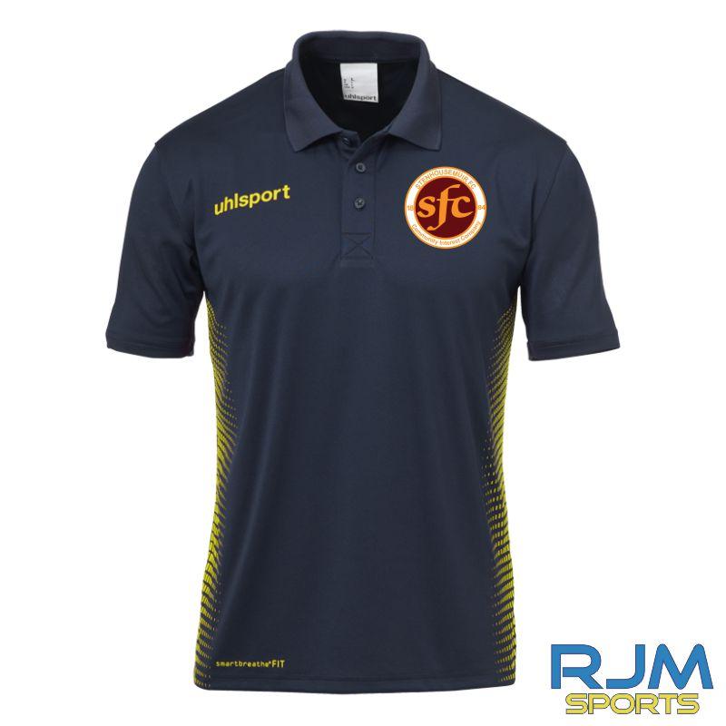 Stenhousemuir FC Uhlsport Score Polo Shirt Navy/Fluo Yellow