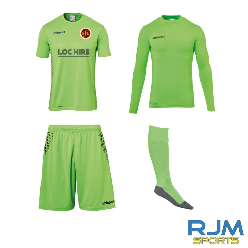 Stenhousemuir FC Uhlsport GK Score Set Fluo Green/Navy