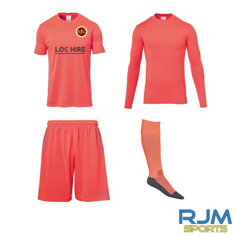Stenhousemuir FC Uhlsport GK Score Set Fluo Red/Grey